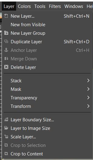 layers rippmenüü GIMP