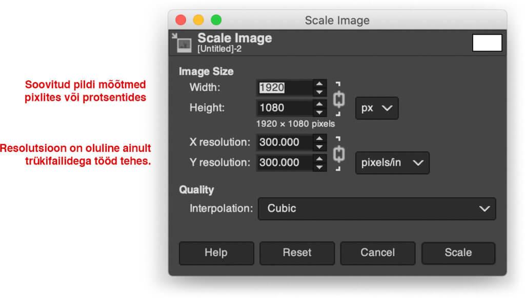 pildifaili suuruse muutmine tasuta graafikaprogrammis GIMP