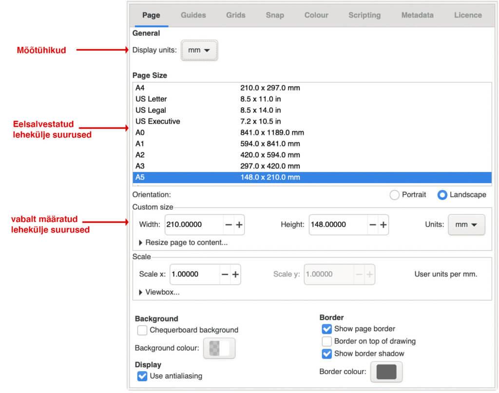 inkscape dokumendi seaded vektorgraafika